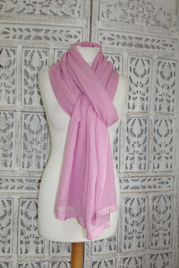 Soft Pink Silk With Silver Mukesh Shawl - Preloved - Indian Suit Company