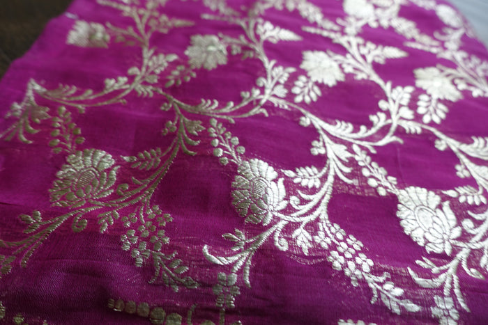 Magenta Silk Blend Scarf Banarsi - New - Indian Suit Company