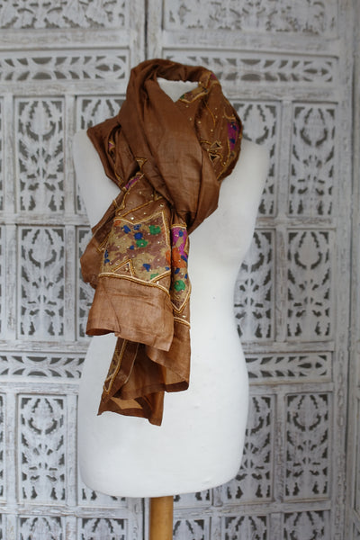 Brown Tissue Silk Appliqued Vintage Scarf - New - Indian Suit Company