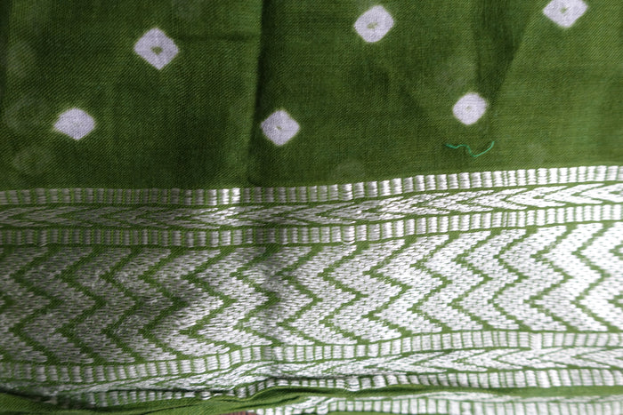 Green Cotton Printed Tie Dye Scarf - New - Indian Suit Company