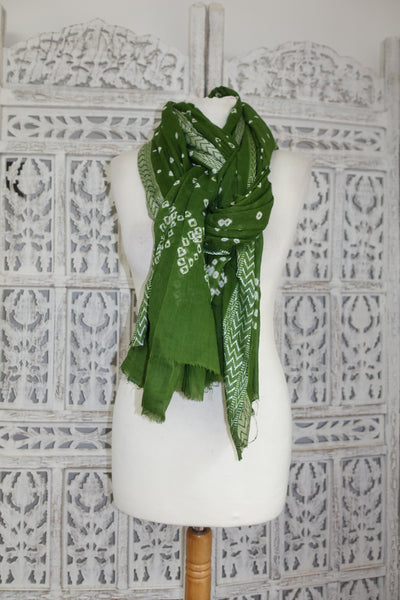 Green Cotton Printed Tie Dye Shawl - New - Indian Suit Company