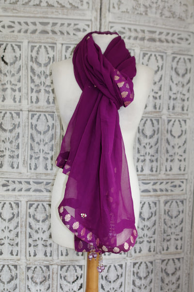 Purple Pure Silk Chiffon - Preloved - Indian Suit Company