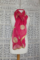Pink Chiffon Circular Gold Embroidered Shawl - Preloved - Indian Suit Company