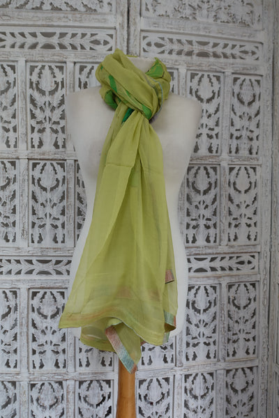 Green glitter chiffon shawl - preloved - Indian Suit Company