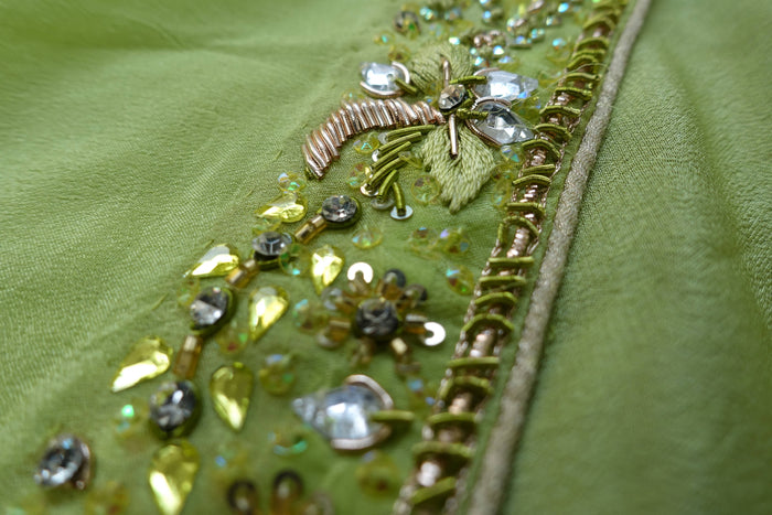 Green Silk Chiffon Embellished Scarf - New - Indian Suit Company