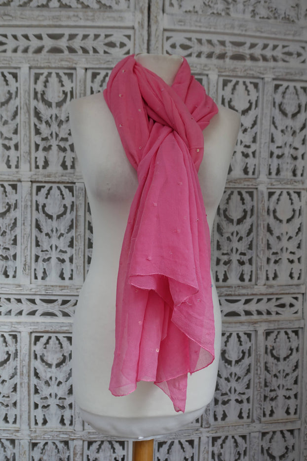 Soft Pink Silk Chiffon Sequinned Scarf - New - Indian Suit Company