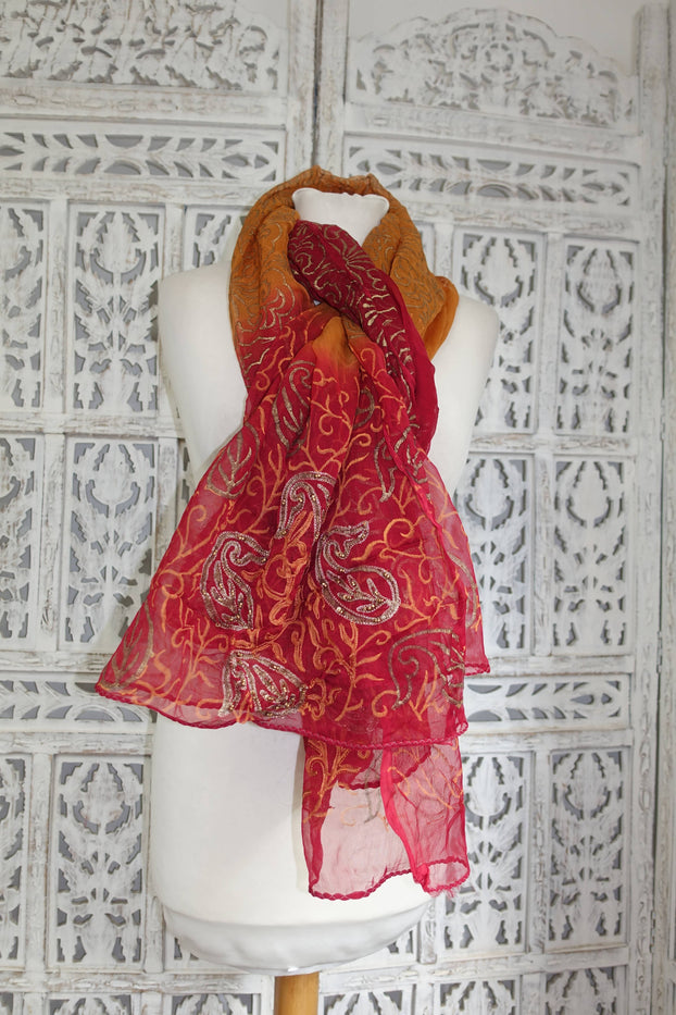 Dark Red & Burnt Orange Gold Block Beaded Shawl - New - Indian Suit Company