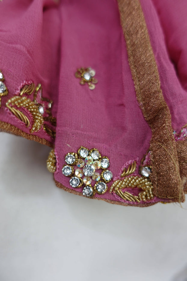 Rose Pink Silk Chiffon Diamante Scarf - New - Indian Suit Company