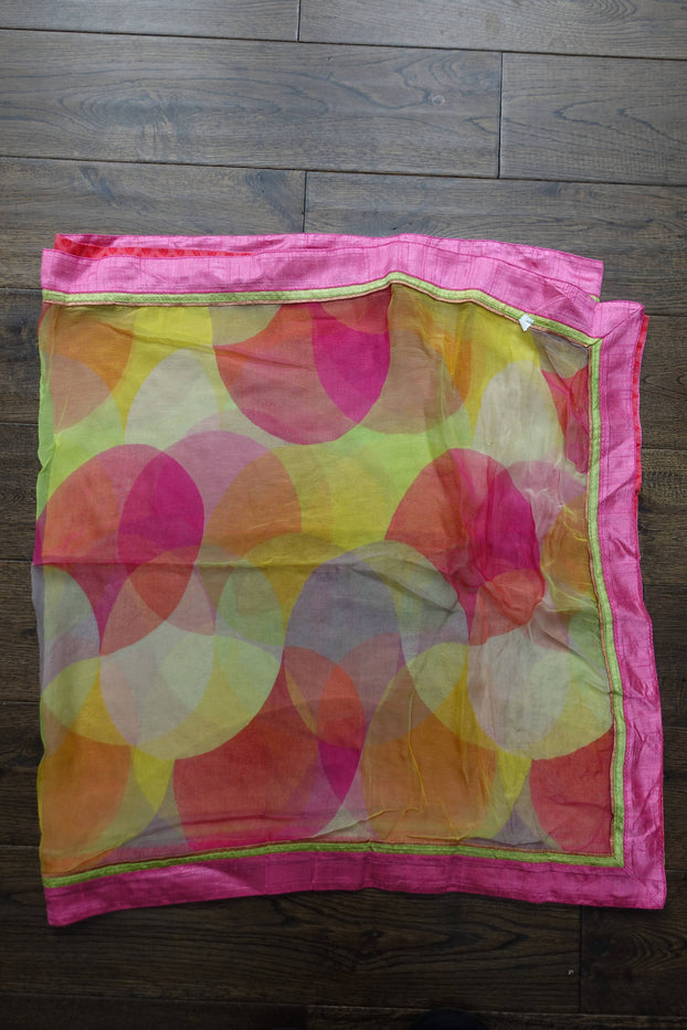 Colourful Chiffon Shawl With Raw Silk Trim - New - Indian Suit Company