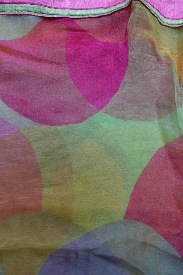 Colourful Chiffon Scarf With Raw Silk Trim - New - Indian Suit Company