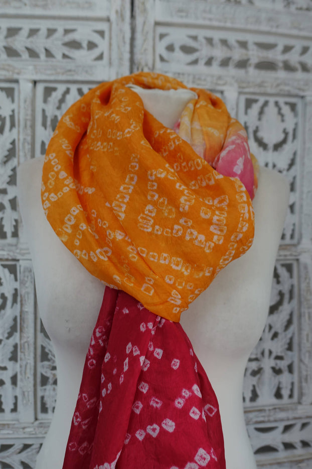 Red & Orange Pure Silk Bandhani Scarf - New - Indian Suit Company