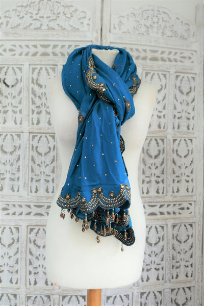 Blue Silk Scallop Edge Embellished Shawl - New - Indian Suit Company