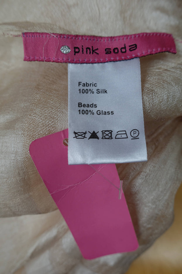 Pink Soda Cream Silk Scarf - New - Indian Suit Company