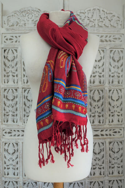 Red Wool Pashmina Shawl - New - Indian Suit Company