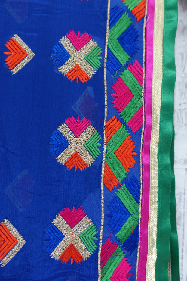 Blue Phulkari Scarf - New - Indian Suit Company
