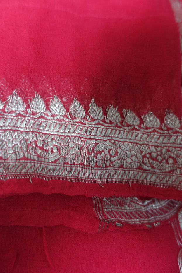 Coral Red Vintage Banarsi Scarf - New - Indian Suit Company
