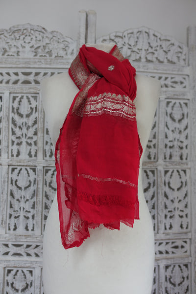 Coral Red Vintage Banarsi Shawl - New - Indian Suit Company