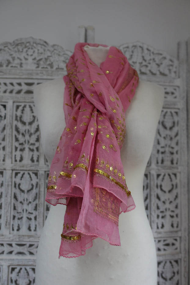 Pastel Pink Sequinned Vintage Scarf - Preloved - Indian Suit Company