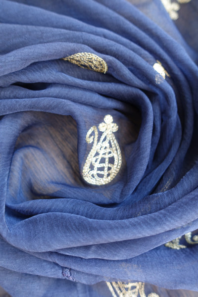 Navy Blue Vintage Shawl - Preloved - Indian Suit Company