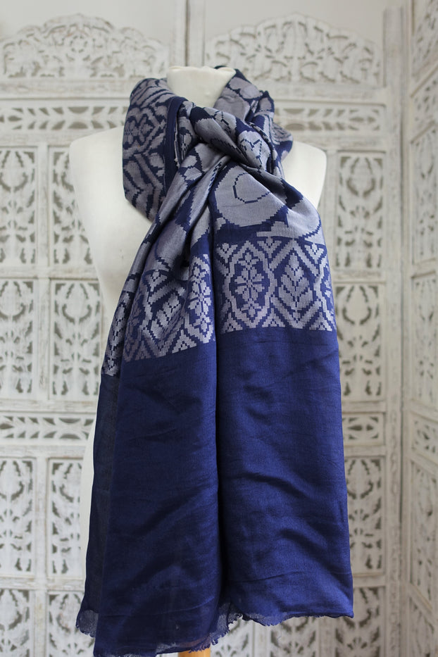 Navy Blue & Silver Grey Silk Scarf - New - Indian Suit Company