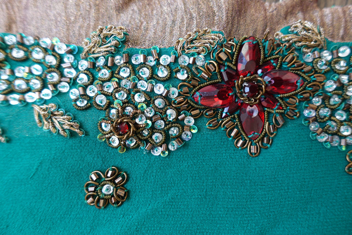 Green Heavy Beaded Scarf - Preloved - Indian Suit Company