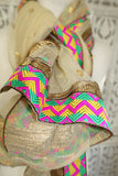 Cream Net Scarf With Bright Zig Zag Border - New - Indian Suit Company