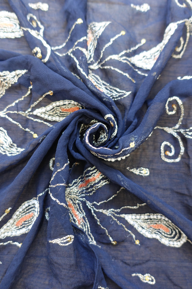 Navy Blue Vintage Chiffon Scarf - Preloved - Indian Suit Company