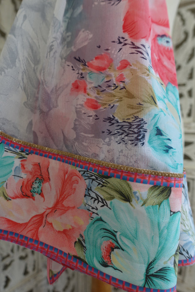 Pastel Floral Print Scarf - Preloved - Indian Suit Company