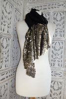 Black Sequinned Wool Blend Shawl - New - Indian Suit Company