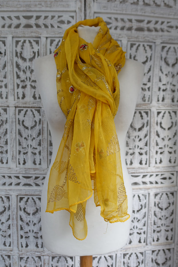 Yellow Vintage Silk Chiffon Scarf - New - Indian Suit Company