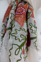 Cream Autumnal Embroidered Chiffon Scarf - New - Indian Suit Company