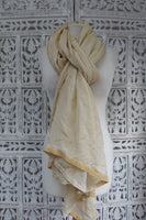 Cream With Velvet Trim Scarf  - New - Indian Suit Company