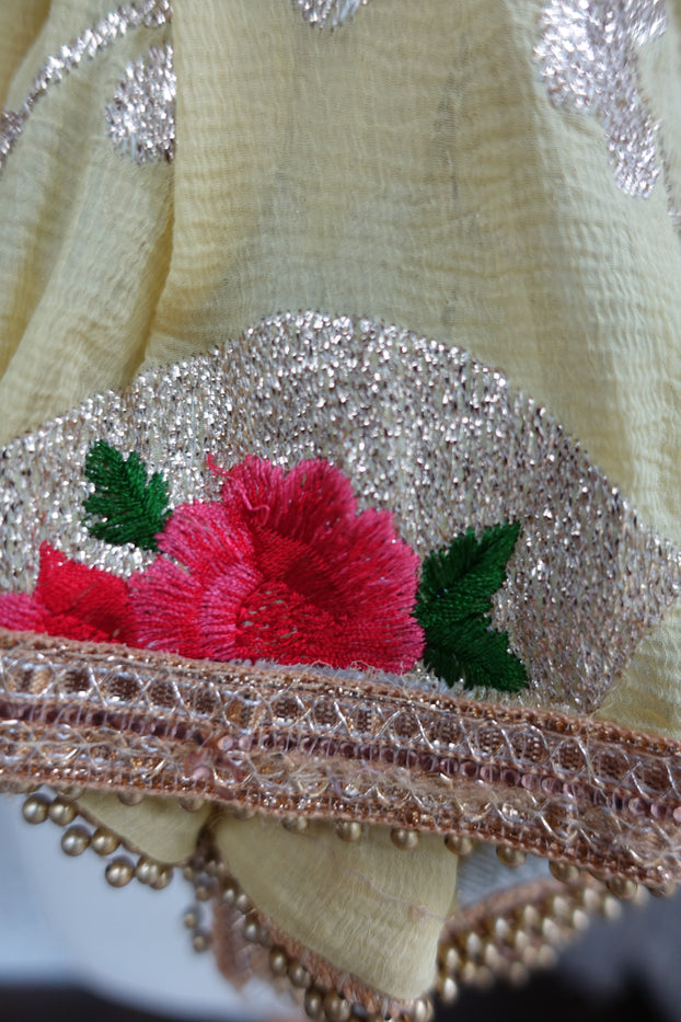Soft Yellow Embroidered Floral Scarf - New - Indian Suit Company