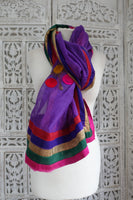 Purple Cotton Embroidered Scarf - New - Indian Suit Company