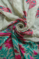 Floral Green Printed Silk Scarf - New - Indian Suit Company