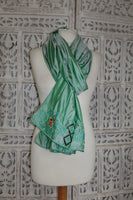 Green Silk Vintage Embellished Scarf - New - Indian Suit Company