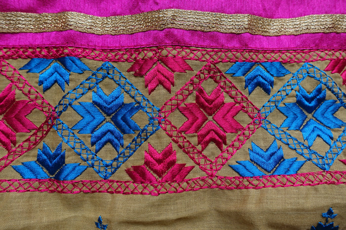 Beige Cotton Phulkari Trim Scarf - New - Indian Suit Company
