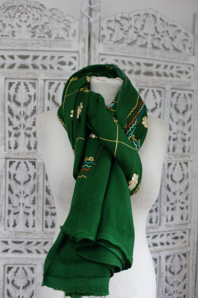 Green Wool Shawl - New - Indian Suit Company
