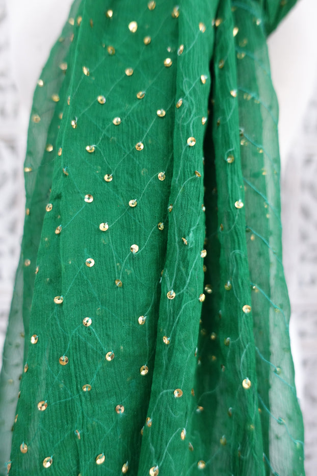 Green Silk Chiffon Sequinned Lightweight Scarf - New - Indian Suit Company