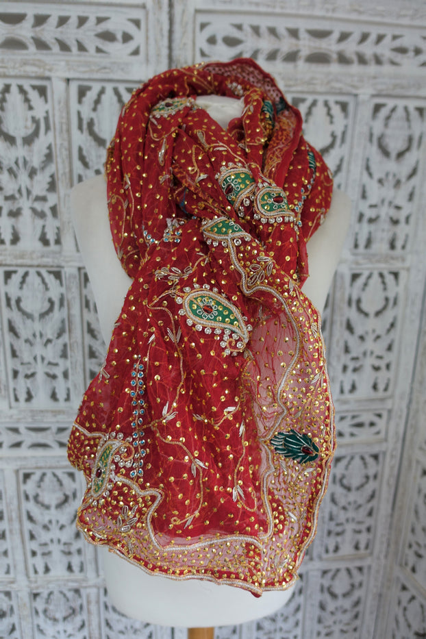 Red Vintage Wedding Silk Chiffon Scarf - New - Indian Suit Company