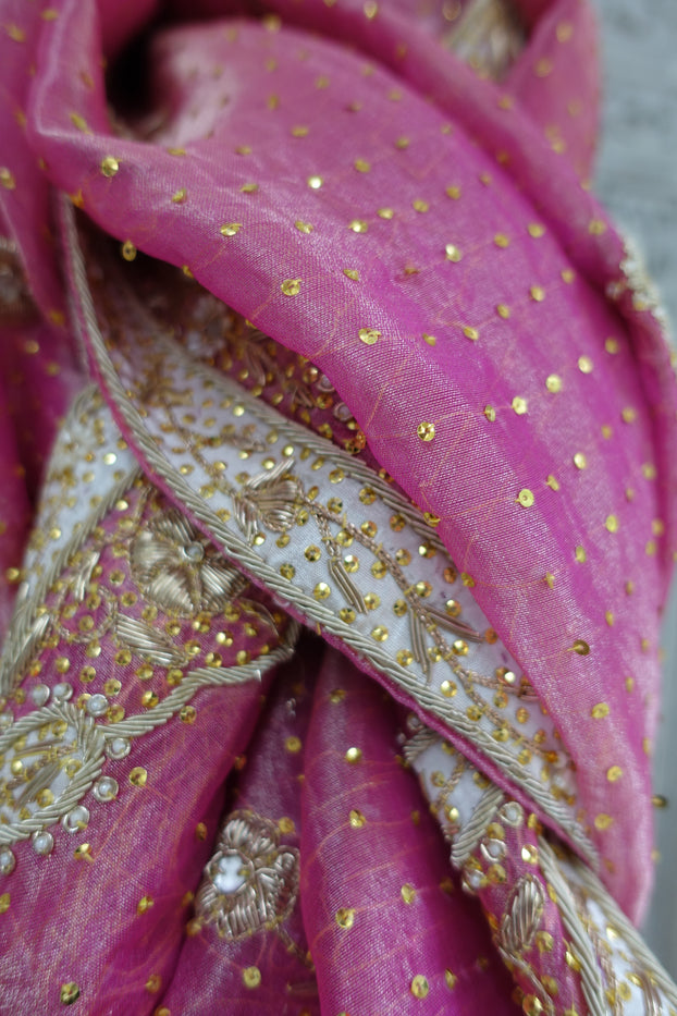 Pink Silk Voile Wedding Scarf - New - Indian Suit Company