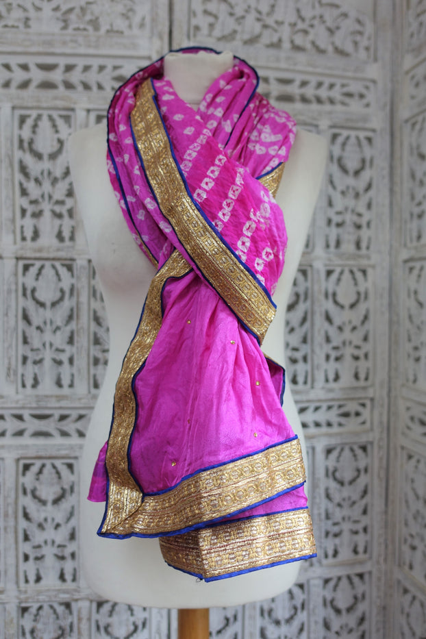 Pink & Blue Bandhani Print Scarf - New - Indian Suit Company