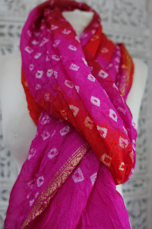 Pink Orange And Red Bandhani Print - New - Indian Suit Company