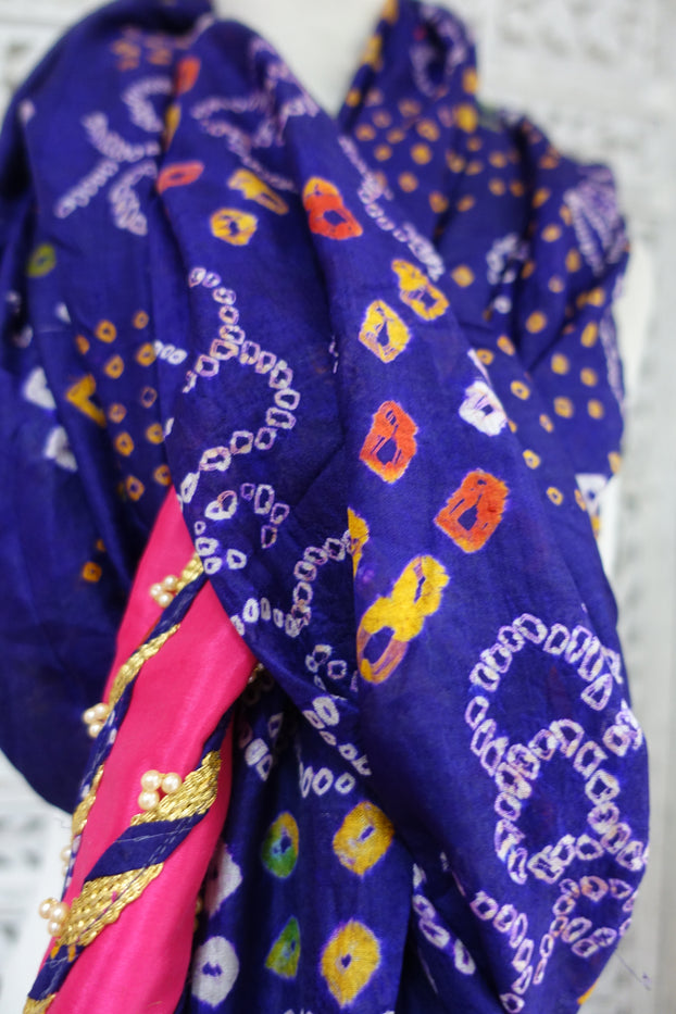 Purple Silk Bandhani Print - New - Indian Suit Company