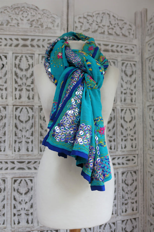 Blue Chiffon Phulkari Scarf - New - Indian Suit Company