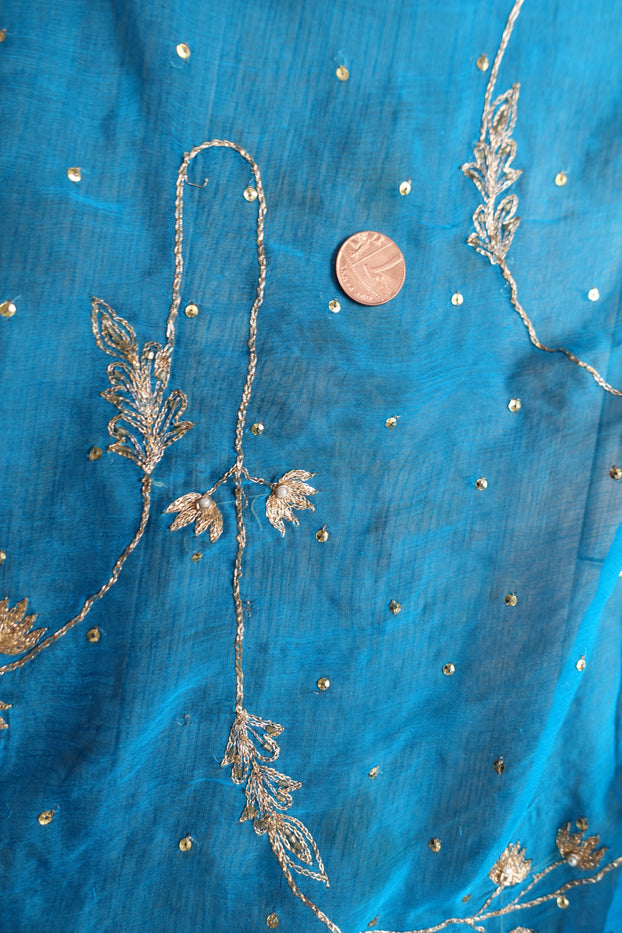 Blue Vintage Silk Chiffon Scarf - Preloved - Indian Suit Company