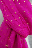 Hot Pink Silk Chiffon Sequinned Lightweight Scarf - New - Indian Suit Company