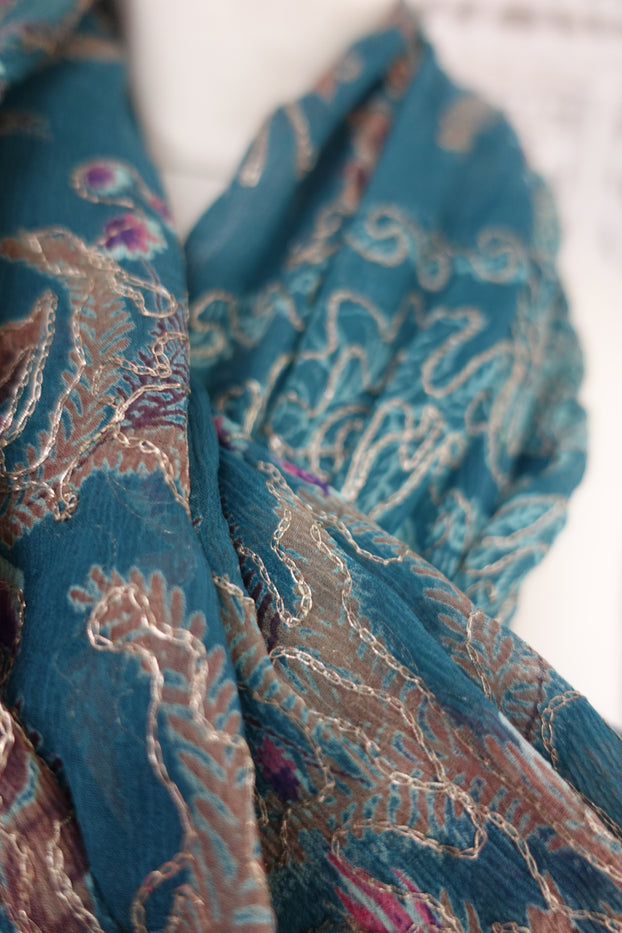 Denim Blue Vintage Scarf - New - Indian Suit Company