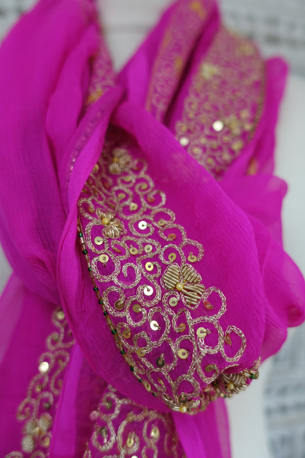 Hot Pink Silk Chiffon Vintage Scarf - Preloved - Indian Suit Company