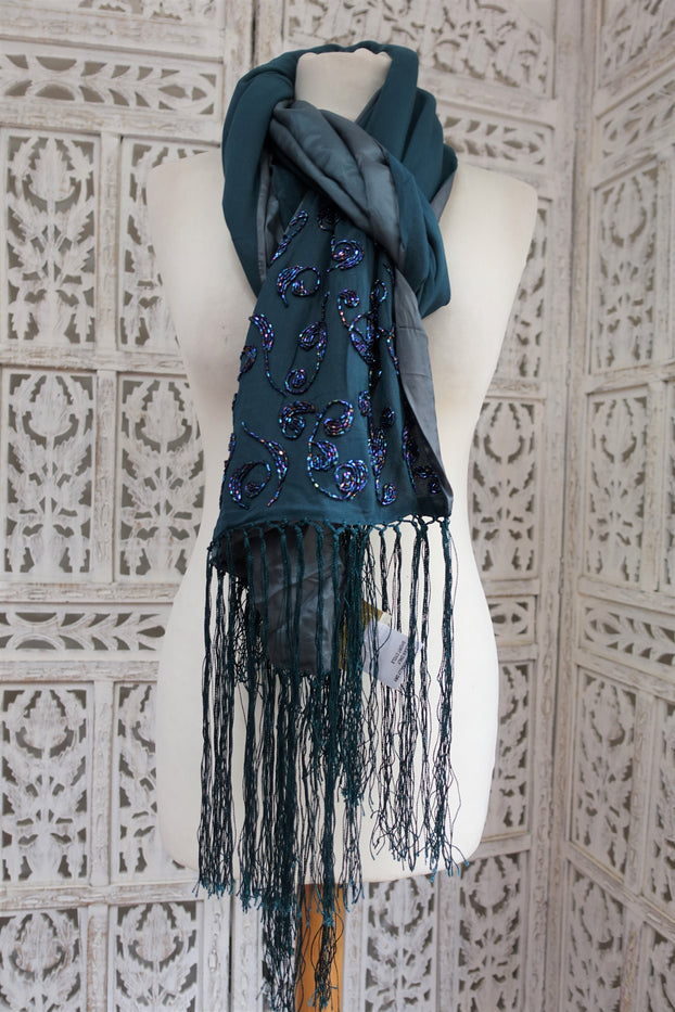 Dark Green Lined Silk Cache Scarf - New - Indian Suit Company